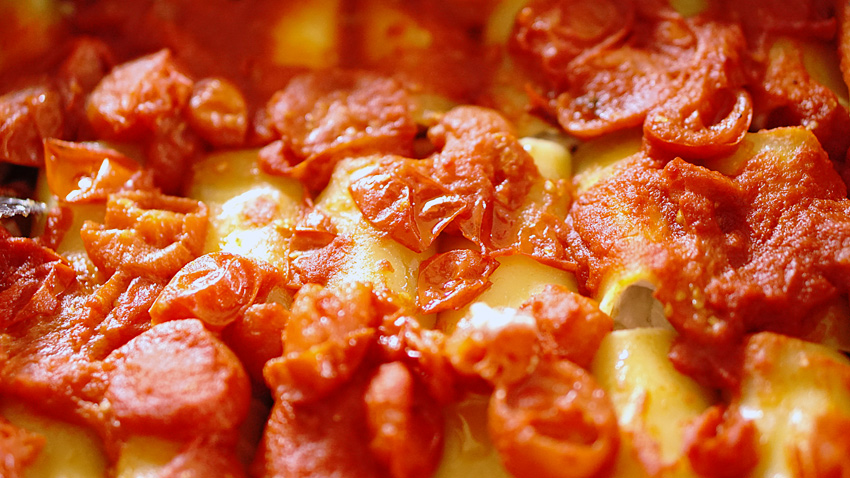 paccheri salsa forno ricotta